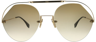 Fendi FF 0326 09Q HA Aviator Metal Brown Sunglasses with Brown Gradient Lens