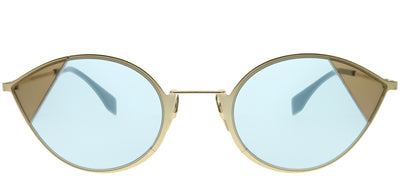 Fendi FF 0342 QWU 1P Cat-Eye Metal Gold Sunglasses with Blue Lens