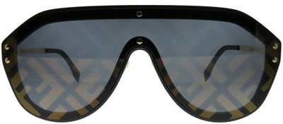 Fendi Men FF M0039/G 2M2 7Y Shield Plastic Black Sunglasses with Gold Fendi Print Mirror Lens