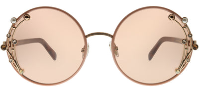 Jimmy Choo JC Gema FWM 2S Round Metal Pink Sunglasses with Pink Mirror Lens
