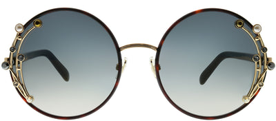 Jimmy Choo JC Gema 086 FQ Round Metal Tortoise/ Havana Sunglasses with Gold Mirror Lens