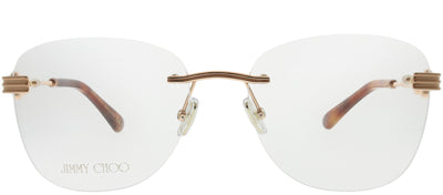 Jimmy Choo JC 214 06J Rimless Metal Gold Eyeglasses with Demo Lens
