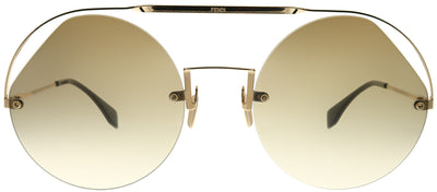 Fendi FF 0325 09Q HA Round Metal Brown Sunglasses with Brown Gradient Lens