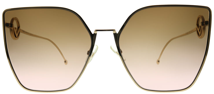 Fendi FF 0323 S45 M2 Cat-Eye Metal Gold Sunglasses with Brown Pink Gradient Lens