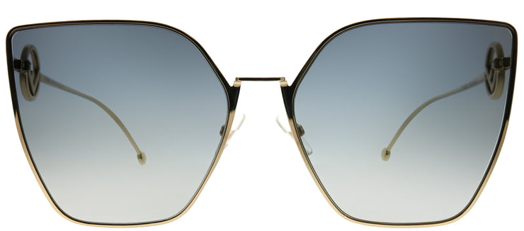 Fendi FF 0323 FT3 FQ Cat-Eye Metal Gold Sunglasses with Grey Gold Gradient Lens