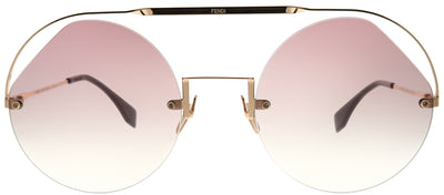 Fendi FF 0325 QHO 3X Round Metal Pink Sunglasses with Pink Gradient Lens