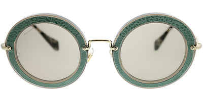 Miu Miu MU 08RS U6S5J2 Round Plastic Green Sunglasses with Light Brown Lens