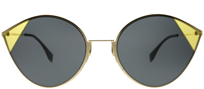 Fendi FF 0341 2F7 IR Cat-Eye Metal Gold Sunglasses with Grey Lens