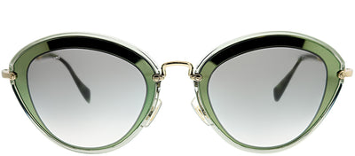 Miu Miu MU 51RS UFC1E0 Cat-Eye Plastic Green Sunglasses with Grey Gradient Lens