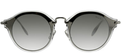 Miu Miu MU 51SS 1BC2B049 Cat-Eye Plastic Silver Sunglasses with Silver Mirror Lens