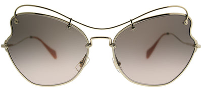 Miu Miu MU 56RS ZVN3D061 Cat-Eye Metal Gold Sunglasses with Light Brown Gradient Lens
