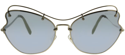 Miu Miu MU 56RS ZVN5Q061 Cat-Eye Metal Gold Sunglasses with Blue Mirror Lens