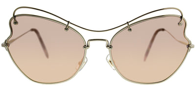 Miu Miu MU 56RS ZVN6S061 Cat-Eye Metal Gold Sunglasses with Rose Gold Mirror Lens