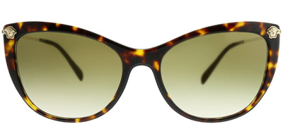 Versace VE 4345B 108/6U Cat-Eye Plastic Tortoise/ Havana Sunglasses with Gold Gradient Mirror Lens