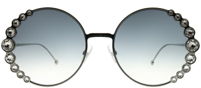 Fendi FF 0324 6LB 9O Round Metal Ruthenium/ Gunmetal Sunglasses with Dark Grey Gradient Lens