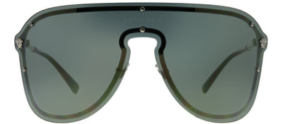Versace VE 2180 10005A Shield Metal Silver Sunglasses with Gold Mirror Lens