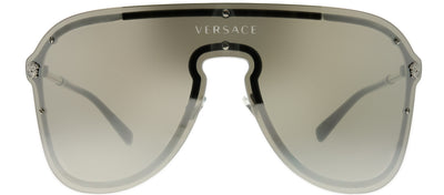 Versace VE 2180 10006G Shield Metal Silver Sunglasses with Silver Mirror Lens