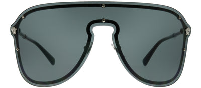 Versace VE 2180 100087 Shield Metal Silver Sunglasses with Grey Lens