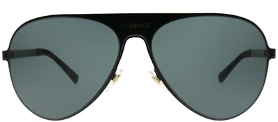 Versace VE 2189 142587 Aviator Metal Black Sunglasses with Grey Lens