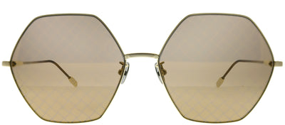Bottega Veneta BV 0201S 003 Fashion Metal Gold Sunglasses with Gold Intrecciato Printed Lens