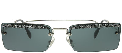 Miu Miu MU 59TS KJL1A1 Rectangle Metal Silver Sunglasses with Grey Lens