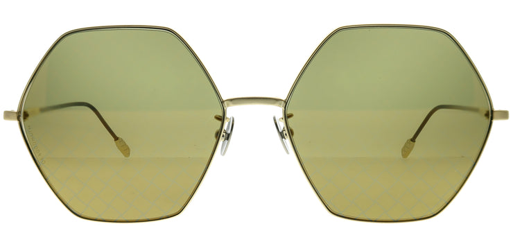Bottega Veneta BV 0201S 004 Fashion Metal Gold Sunglasses with Gold Intrecciato Printed Lens