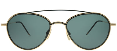Thom Browne TB TB-109-A-T-GLD-BLK-53 Round Metal Gold Sunglasses with Dark Grey AR Lens