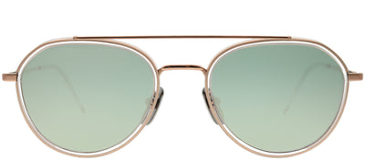 Thom Browne TB TB-801-G-RGD-CLR-51 Aviator Metal Gold Sunglasses with Milky Gold Flash AR Lens
