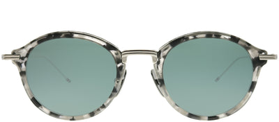 Thom Browne TB TBS908-46-03 Round Plastic Grey Sunglasses with Silver Flash AR Lens