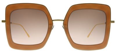 Bottega Veneta BV 0209S 002 Square Plastic Brown Sunglasses with Brown Gradient Mirrored Lens