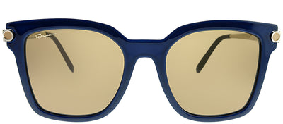 Salvatore Ferragamo SF 832S 414 Square Plastic Blue Sunglasses with Brown Lens