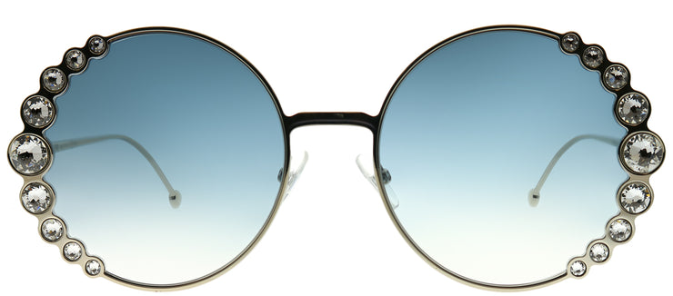 Fendi FF 0324 3YG 08 Round Metal Gold Sunglasses with Dark Blue Gradient Lens