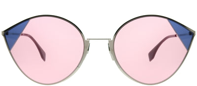Fendi FF 0341 AVB U1 Cat-Eye Metal Silver Sunglasses with Pink Lens