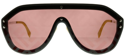 Fendi Men FF M0039/G KB7 7Y Shield Plastic Grey Sunglasses with Red Fendi Print Lens