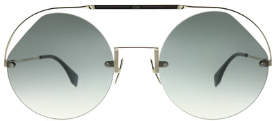 Fendi FF 0325 KB7 9O Round Metal Grey Sunglasses with Grey Gradient Lens
