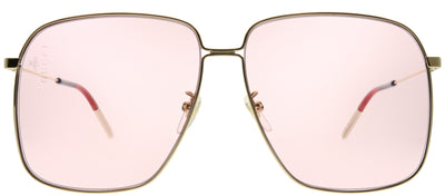 Gucci GG 0394S 004 Square Metal Gold Sunglasses with Pink Lens