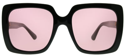 Gucci GG 0418S 002 Square Plastic Black Sunglasses with Pink Lens