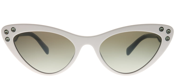 Miu Miu MU 05TS 4AO5O0 Cat-Eye Plastic Ivory/ White Sunglasses with Silver Mirror Gradient Lens