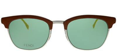 Fendi FF 0228/S VGV Square Metal Orange Sunglasses with Green Lens