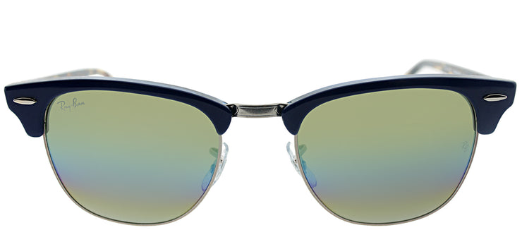Ray-Ban RB 3016 1223C4 Clubmaster Plastic Blue Sunglasses with Gold Rainbow Flash Lens