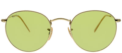 Ray-Ban RB 3447 90644C Round Metal Gold Sunglasses with Green Photochromatic Evolve Lens