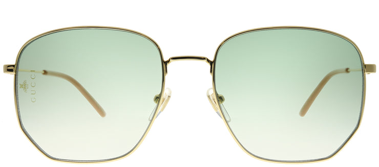 Gucci GG 0396S 002 Square Metal Gold Sunglasses with Green Gradient Lens
