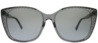 Bottega Veneta BV 0218SK 002 Cat-Eye Plastic Grey Sunglasses with Silver Flash Lens