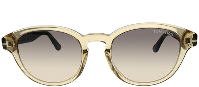 Tom Ford FT 0521 39B Round Plastic Yellow Sunglasses with Grey Gradient Lens