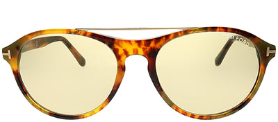 Tom Ford FT 0556 55E Round Plastic Tortoise/ Havana Sunglasses with Brown Lens