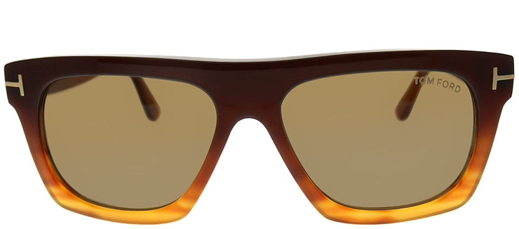 Tom Ford FT 0592 50E Rectangle Plastic Brown Sunglasses with Brown Lens