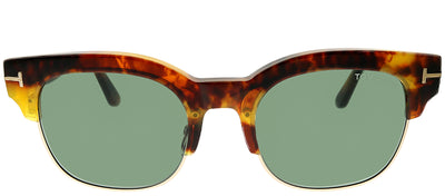 Tom Ford FT 0597 55N Square Plastic Tortoise/ Havana Sunglasses with Green Lens