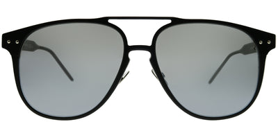Bottega Veneta BV 0212S 001 Square Metal Black Sunglasses with Grey Flash Lens