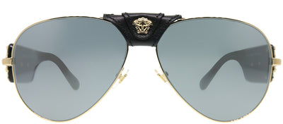 Versace VE 2150Q 12526G Baroque Aviator Metal Gold Sunglasses with Grey Mirror Lens