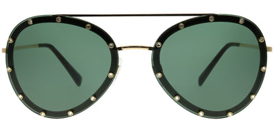 Valentino VA 2013 300271 Aviator Metal Gold Sunglasses with Smoke Green Lens